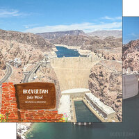 Scrapbook Customs - America the Beautiful Collection - 12 x 12 Double Sided Paper - Nevada - Hoover Dam Lake Mead