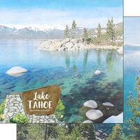 Scrapbook Customs - America the Beautiful Collection - 12 x 12 Double Sided Paper - Nevada - Lake Tahoe California and Nevada