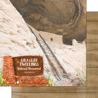 Scrapbook Customs - America the Beautiful Collection - 12 x 12 Double Sided Paper - New Mexico - Gila Cliff Dwellings National Monument