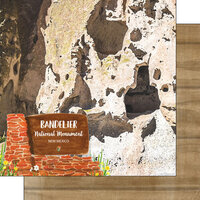 Scrapbook Customs - America the Beautiful Collection - 12 x 12 Double Sided Paper - New Mexico - Bandelier National Monument