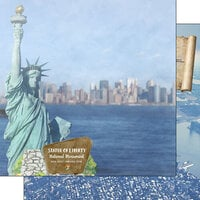 Scrapbook Customs - America the Beautiful Collection - 12 x 12 Double Sided Paper - New York - Statue of Liberty New York and New Jersey