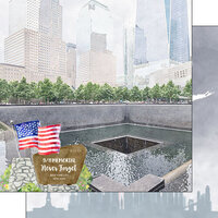 Scrapbook Customs - America the Beautiful Collection - 12 x 12 Double Sided Paper - New York - 911 Memorial Never Forget