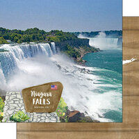 Scrapbook Customs - America the Beautiful Collection - 12 x 12 Double Sided Paper - New York - Niagara Falls U.S. and Canada