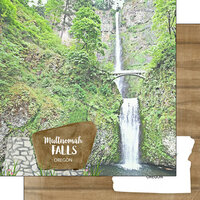 Scrapbook Customs - America the Beautiful Collection - 12 x 12 Double Sided Paper - Oregon - Multnomah Falls Point of Interest