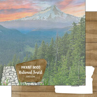 Scrapbook Customs - America the Beautiful Collection - 12 x 12 Double Sided Paper - Oregon - Mt. Hood National Forest