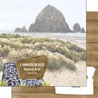 Scrapbook Customs - America the Beautiful Collection - 12 x 12 Double Sided Paper - Oregon - Cannon Beach Haystack Rock
