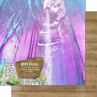 Scrapbook Customs - America the Beautiful Collection - 12 x 12 Double Sided Paper - Tennessee - Ruby Falls - Tallest Deepest Waterfall