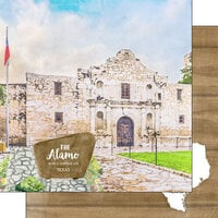 Scrapbook Customs - America the Beautiful Collection - 12 x 12 Double Sided Paper - Texas - The Alamo World Heritage Site