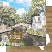 Scrapbook Customs - America the Beautiful Collection - 12 x 12 Double Sided Paper - Texas - River Walk San Antonio