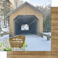 Scrapbook Customs - America the Beautiful Collection - 12 x 12 Double Sided Paper - Vermont - The Brown Covered Bridge