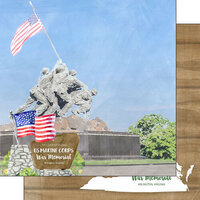 Scrapbook Customs - America the Beautiful Collection - 12 x 12 Double Sided Paper - Virginia - U.S. Marine Corps War Memorial