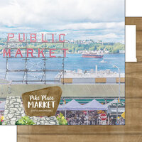 Scrapbook Customs - America the Beautiful Collection - 12 x 12 Double Sided Paper - Washington - Pike Place
