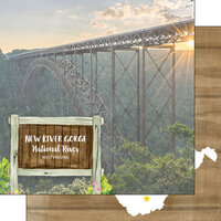 Scrapbook Customs - America the Beautiful Collection - 12 x 12 Double Sided Paper - West Virginia - New River Gorge National River