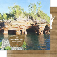 Scrapbook Customs - America the Beautiful Collection - 12 x 12 Double Sided Paper - Wisconsin - Apostle Islands National Lakeshore