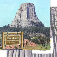 Scrapbook Customs - America the Beautiful Collection - 12 x 12 Double Sided Paper - Wyoming - Devils Tower National Monument Watercolor