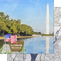 Scrapbook Customs - America the Beautiful Collection - 12 x 12 Double Sided Paper - Washington D.C. - Washington Monument