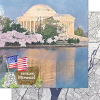 Scrapbook Customs - America the Beautiful Collection - 12 x 12 Double Sided Paper - Washington D.C. - Jefferson Memorial