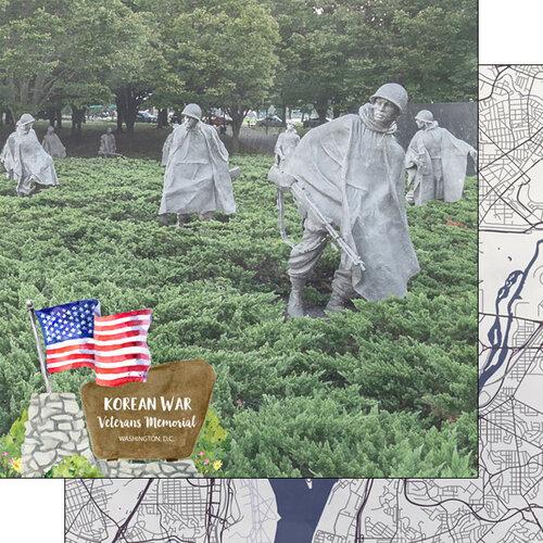 Scrapbook Customs - America the Beautiful Collection - 12 x 12 Double Sided Paper - Washington D.C. - Korean War Veterans Memorial