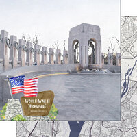 Scrapbook Customs - America the Beautiful Collection - 12 x 12 Double Sided Paper - Washington D.C. - World War II Memorial
