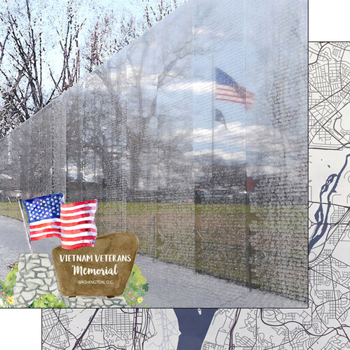 Scrapbook Customs - America the Beautiful Collection - 12 x 12 Double Sided Paper - Washington D.C. - Vietnam Veterans Memorial