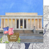 Scrapbook Customs - America the Beautiful Collection - 12 x 12 Double Sided Paper - Washington D.C. - Lincoln Memorial