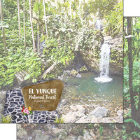Scrapbook Customs - National Park Watercolor Collection - 12 x 12 Double Sided Paper - Puerto Rico - El Yunque National Forest
