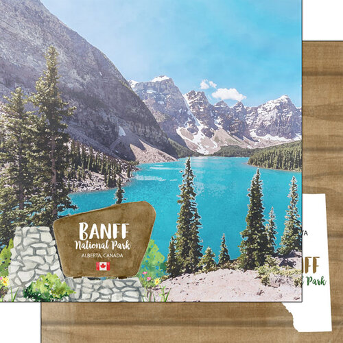 Scrapbook Customs - Canadian National Park Watercolor Collection - 12 x 12 Double Sided Paper - Canada - Alberta - Banff National Park