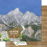 Scrapbook Customs - Canadian National Park Watercolor Collection - 12 x 12 Double Sided Paper - Canada - Alberta - Glacier National Park