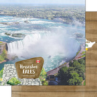 Scrapbook Customs - Canadian National Park Watercolor Collection - 12 x 12 Double Sided Paper - Canada - Ontario - Horseshoe Falls Niagara Falls