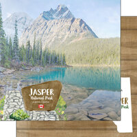 Scrapbook Customs - Canadian National Park Watercolor Collection - 12 x 12 Double Sided Paper - Canada - Alberta - Jasper National Park