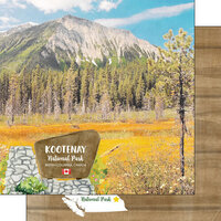 Scrapbook Customs - Canadian National Park Watercolor Collection - 12 x 12 Double Sided Paper - Canada - BC - Kootenay National Park