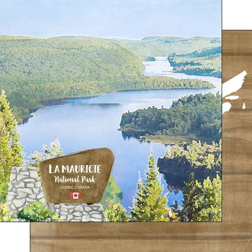 Scrapbook Customs - Canadian National Park Watercolor Collection - 12 x 12 Double Sided Paper - Canada - Quebec - La Mauricie National Park