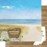 Scrapbook Customs - National Park Watercolor Collection - 12 x 12 Double Sided Paper - Indiana Dunes National Park
