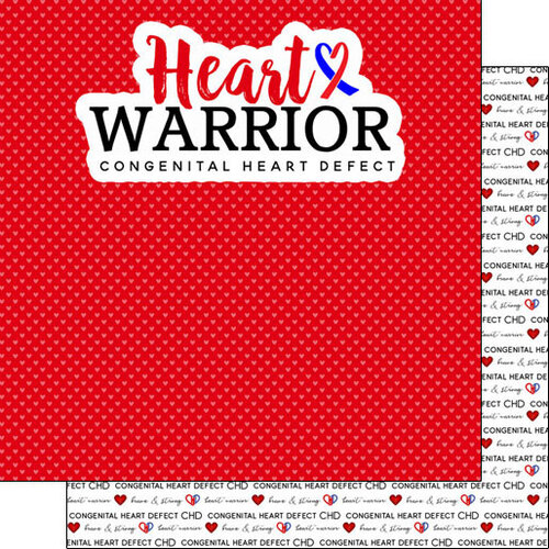 Scrapbook Customs - Heart Warrior Collection - 12 x 12 Double Sided Paper - CHD