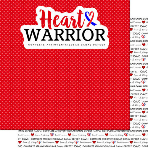 Scrapbook Customs - Heart Warrior Collection - 12 x 12 Double Sided Paper - CAVC