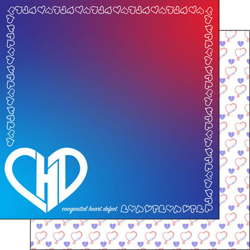 Scrapbook Customs - Heart Warrior Collection - 12 x 12 Double Sided Paper - CHD Border