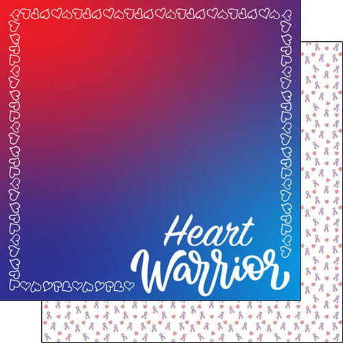 Scrapbook Customs - Heart Warrior Collection - 12 x 12 Double Sided Paper - Heart Border