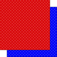Scrapbook Customs - Heart Warrior Collection - 12 x 12 Double Sided Paper - Red and Blue Hearts