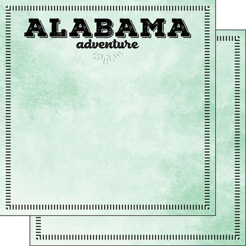Scrapbook Customs - Postage Adventure Collection - 12 x 12 Double Sided Paper - Alabama