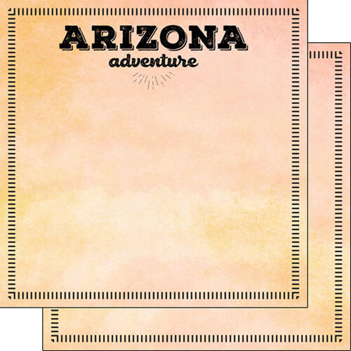 Scrapbook Customs - Postage Adventure Collection - 12 x 12 Double Sided Paper - Arizona