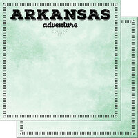 Scrapbook Customs - Postage Adventure Collection - 12 x 12 Double Sided Paper - Arkansas