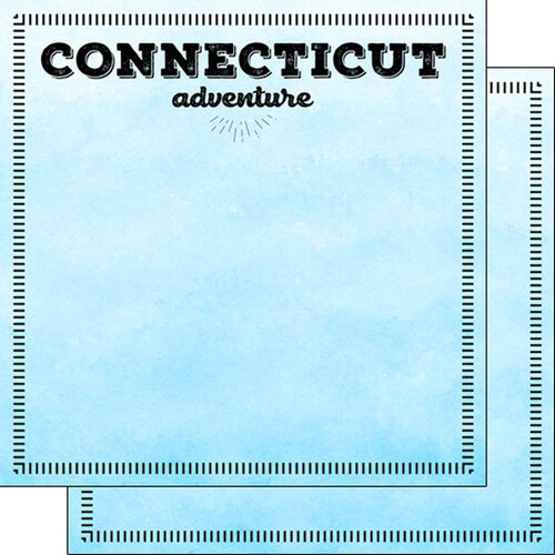 Scrapbook Customs - Postage Adventure Collection - 12 x 12 Double Sided Paper - Connecticut