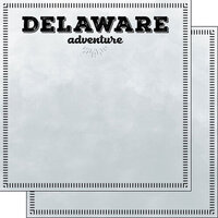 Scrapbook Customs - Postage Adventure Collection - 12 x 12 Double Sided Paper - Delaware