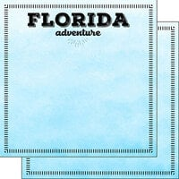 Scrapbook Customs - Postage Adventure Collection - 12 x 12 Double Sided Paper - Florida