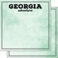 Scrapbook Customs - Postage Adventure Collection - 12 x 12 Double Sided Paper - Georgia