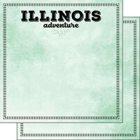 Scrapbook Customs - Postage Adventure Collection - 12 x 12 Double Sided Paper - Illinois