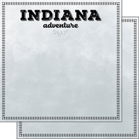 Scrapbook Customs - Postage Adventure Collection - 12 x 12 Double Sided Paper - Indiana