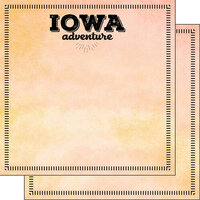 Scrapbook Customs - Postage Adventure Collection - 12 x 12 Double Sided Paper - Iowa