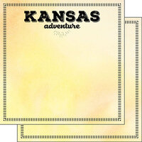 Scrapbook Customs - Postage Adventure Collection - 12 x 12 Double Sided Paper - Kansas
