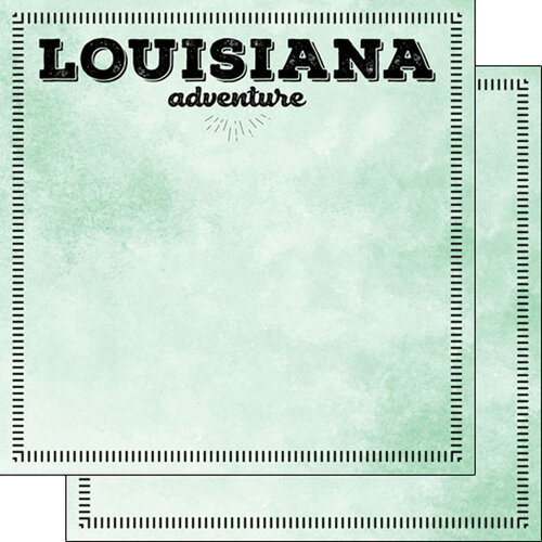 Scrapbook Customs - Postage Adventure Collection - 12 x 12 Double Sided Paper - Louisiana